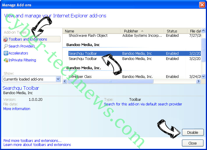Searchers15.club IE toolbars and extensions