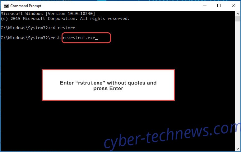 Delete Ordinal Ransomware - command prompt restore execute