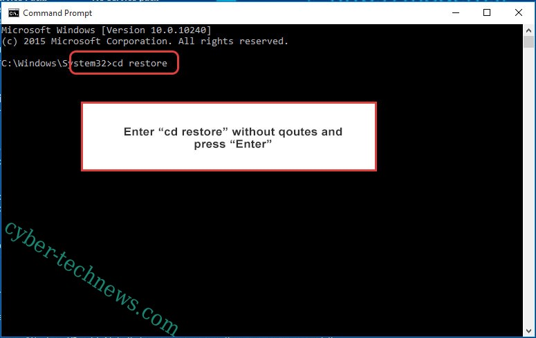 Uninstall XiaoBa Ransomware - command prompt restore