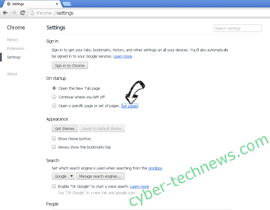 EasyDirections Adware Chrome settings