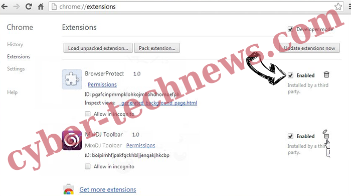 Sociatemethio.club Chrome extensions disable