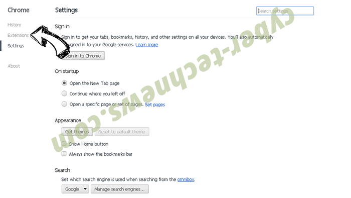 Cuttraffic.com virus Chrome settings