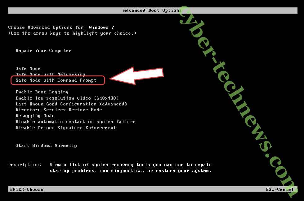 Remove Curumim ransomware - boot options