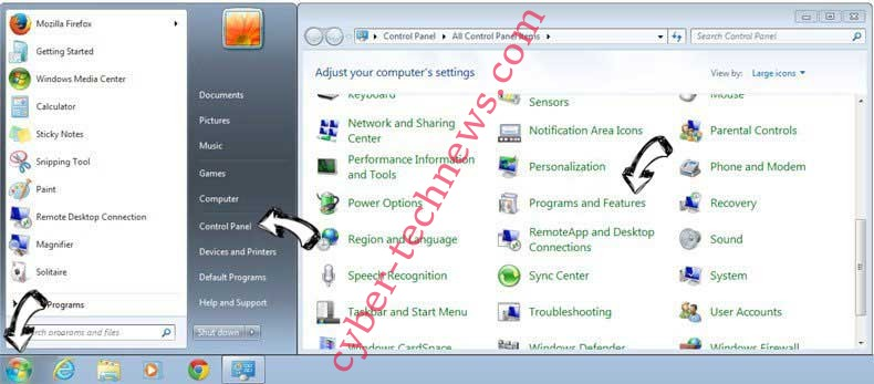 Uninstall Sociatemethio.club from Windows 7