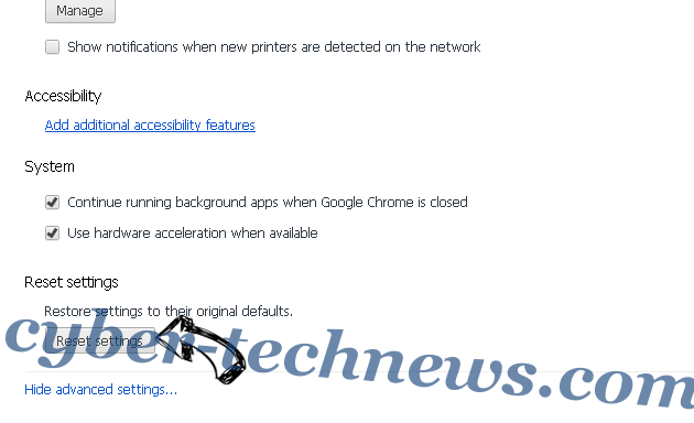 Omgnews.today Chrome advanced menu