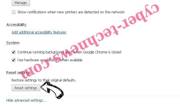 Touchpushthen.info Chrome advanced menu