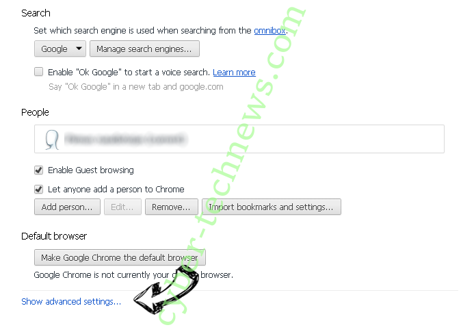 Baysearch.co Chrome settings more