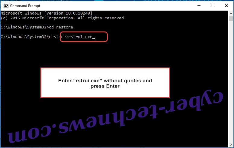 Delete RIGH extension ransomware - command prompt restore execute